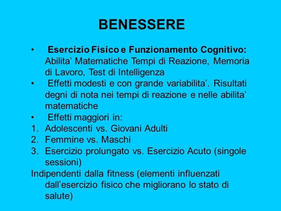 BENESSERE Esercizio Fisico e Funzionamento Cognitivo: Abilita' Matematiche Tempi di Reazione, Memoria di Lavoro, Test di Intelligenza.
