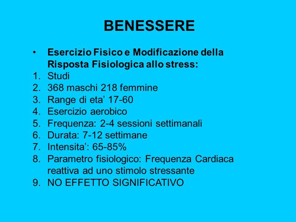BENESSEREEsercizio Fisico e Modificazione della Risposta Fisiologica allo stress: Studi. 368 maschi 218 femmine.