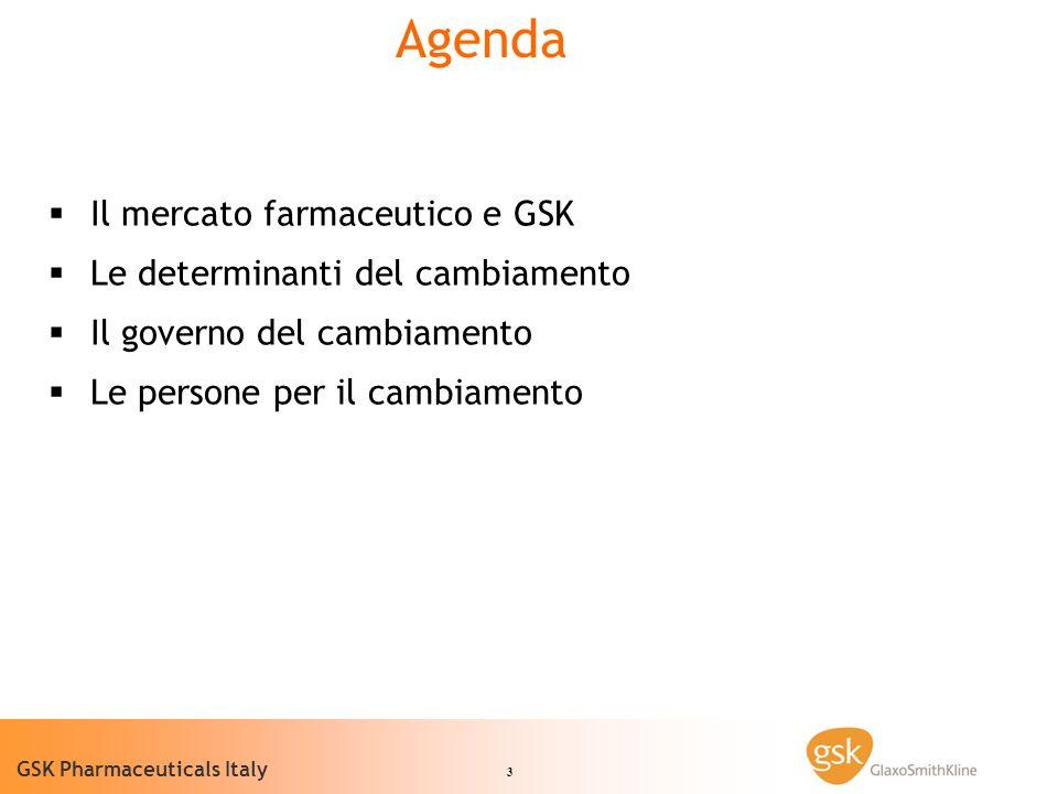 Agenda Il mercato farmaceutico e GSK Le determinanti del cambiamento