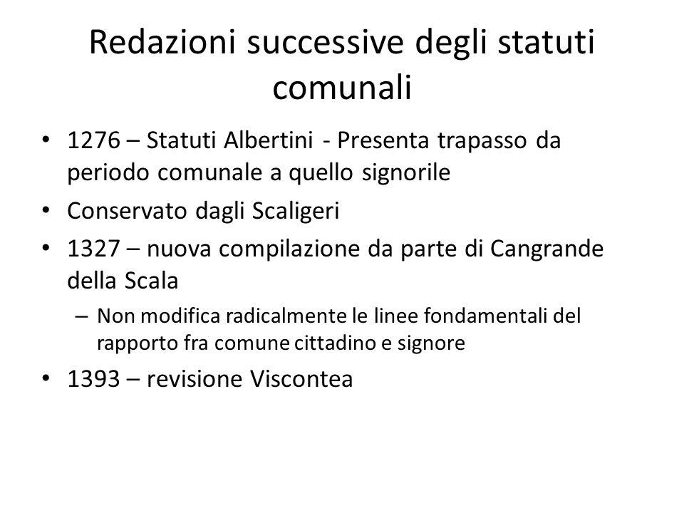 Redazioni successive degli statuti comunali