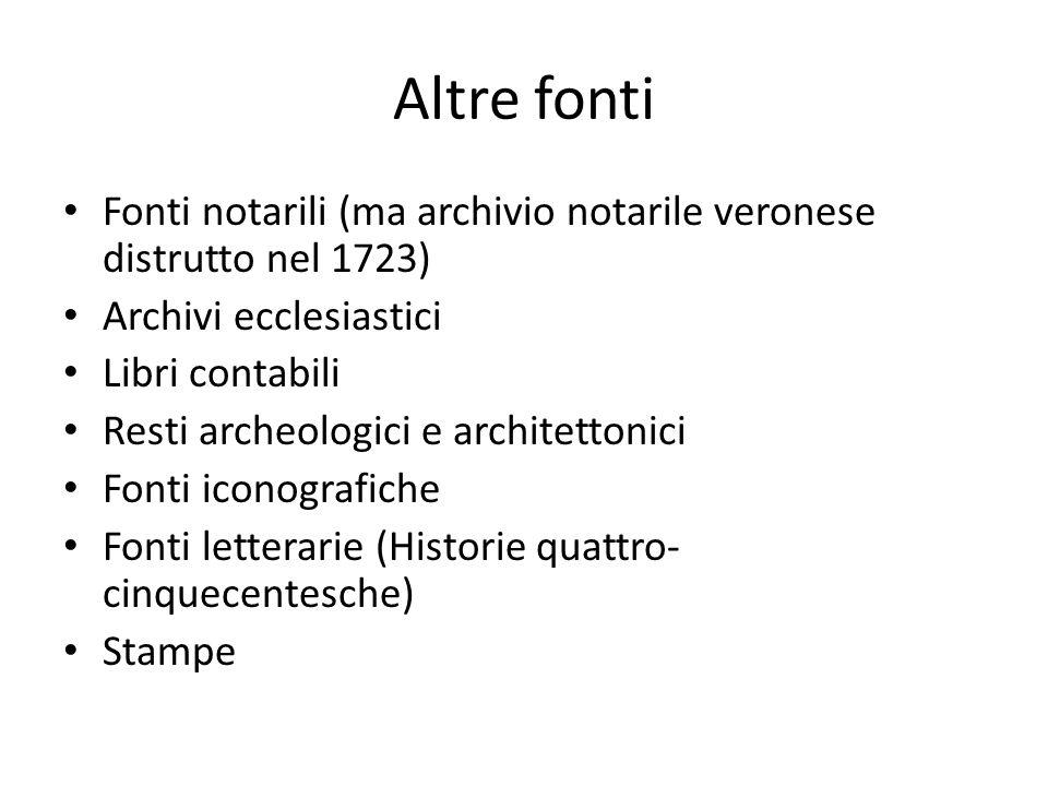 Altre fonti Fonti notarili (ma archivio notarile veronese distrutto nel 1723) Archivi ecclesiastici.