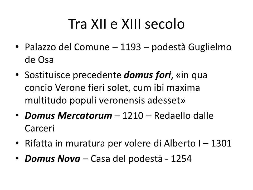 Tra XII e XIII secolo Palazzo del Comune – 1193 – podestà Guglielmo de Osa.