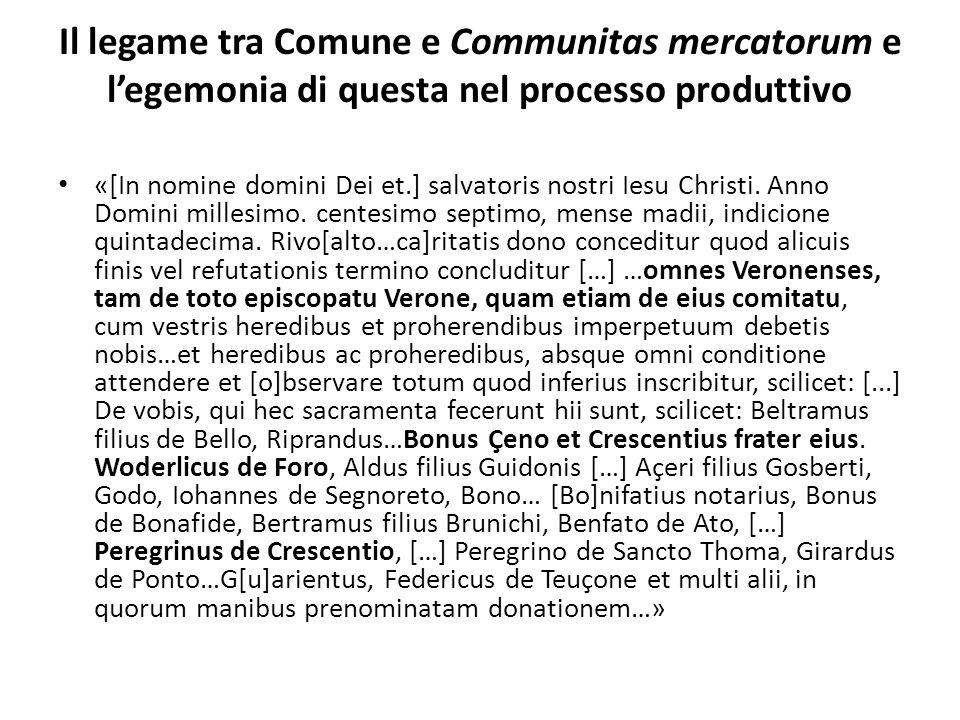 Il legame tra Comune e Communitas mercatorum e l'egemonia di questa nel processo produttivo