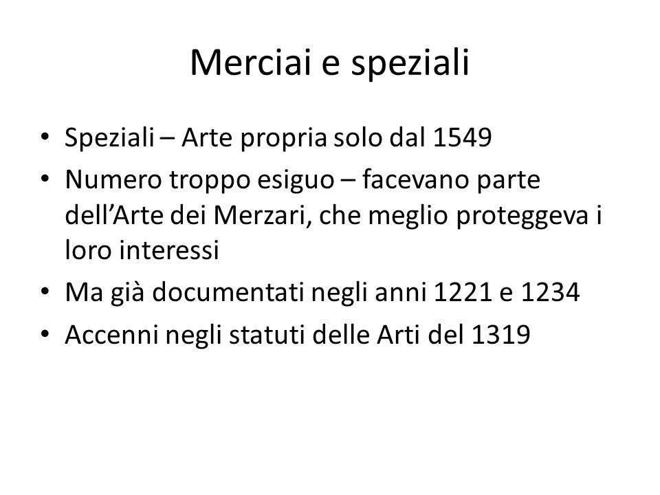 Merciai e speziali Speziali – Arte propria solo dal 1549