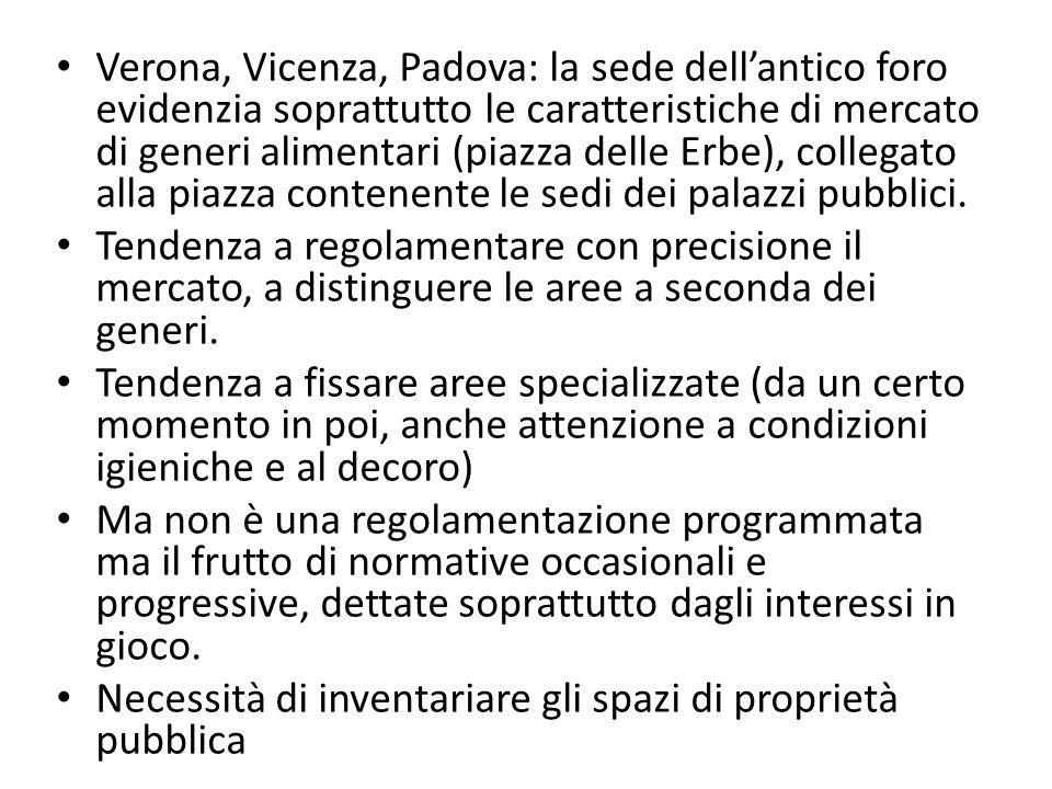 Verona, Vicenza, Padova: la sede dell'antico foro evidenzia soprattutto le caratteristiche di mercato di generi alimentari (piazza delle Erbe), collegato alla piazza contenente le sedi dei palazzi pubblici.