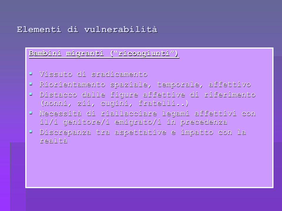 Elementi di vulnerabilità