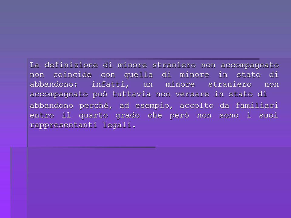 La definizione di minore straniero non accompagnato non coincide con quella di minore in stato di abbandono: infatti, un minore straniero non accompagnato può tuttavia non versare in stato di abbandono perché, ad esempio, accolto da familiari entro il quarto grado che però non sono i suoi rappresentanti legali.