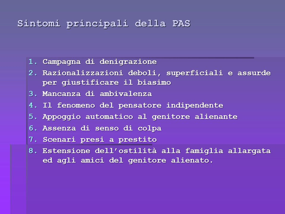 Sintomi principali della PAS