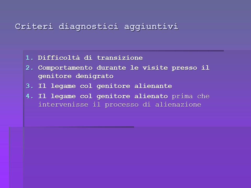 Criteri diagnostici aggiuntivi