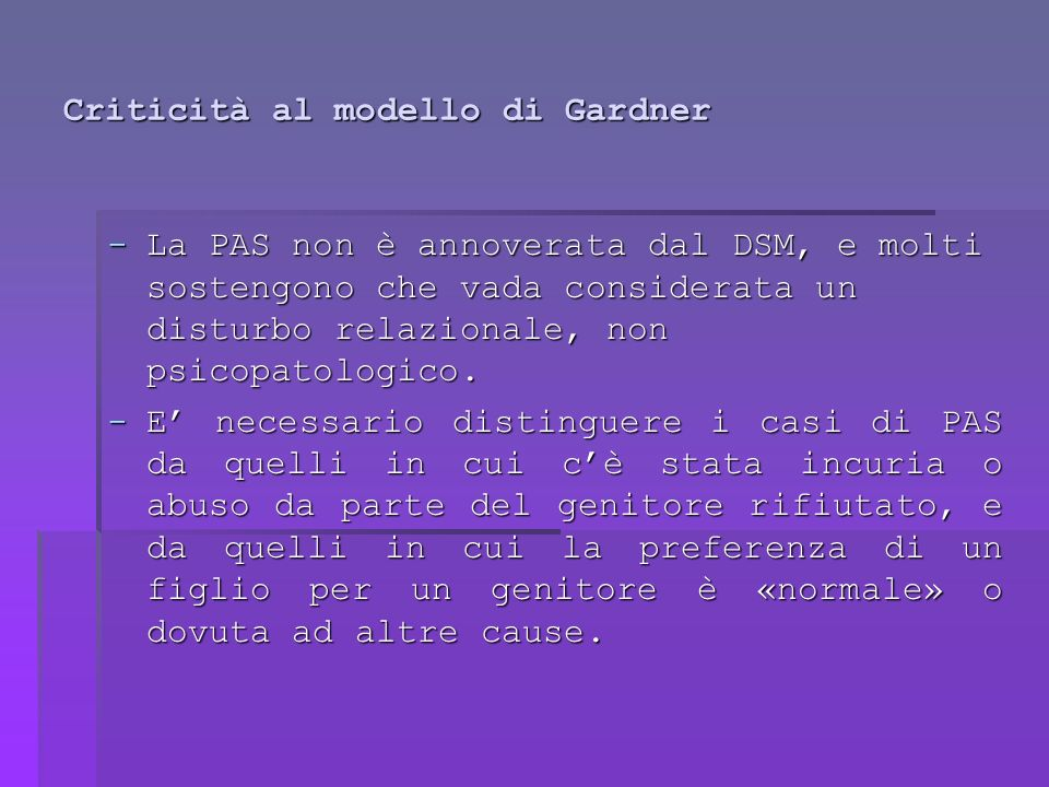 Criticità al modello di Gardner