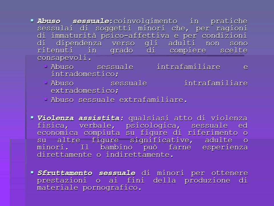 Abuso sessuale:coinvolgimento in pratiche sessulai di soggetti minori che, per ragioni di immaturità psico-affettiva e per condizioni di dipendenza verso gli adulti non sono ritenuti in grado di compiere scelte consapevoli.
