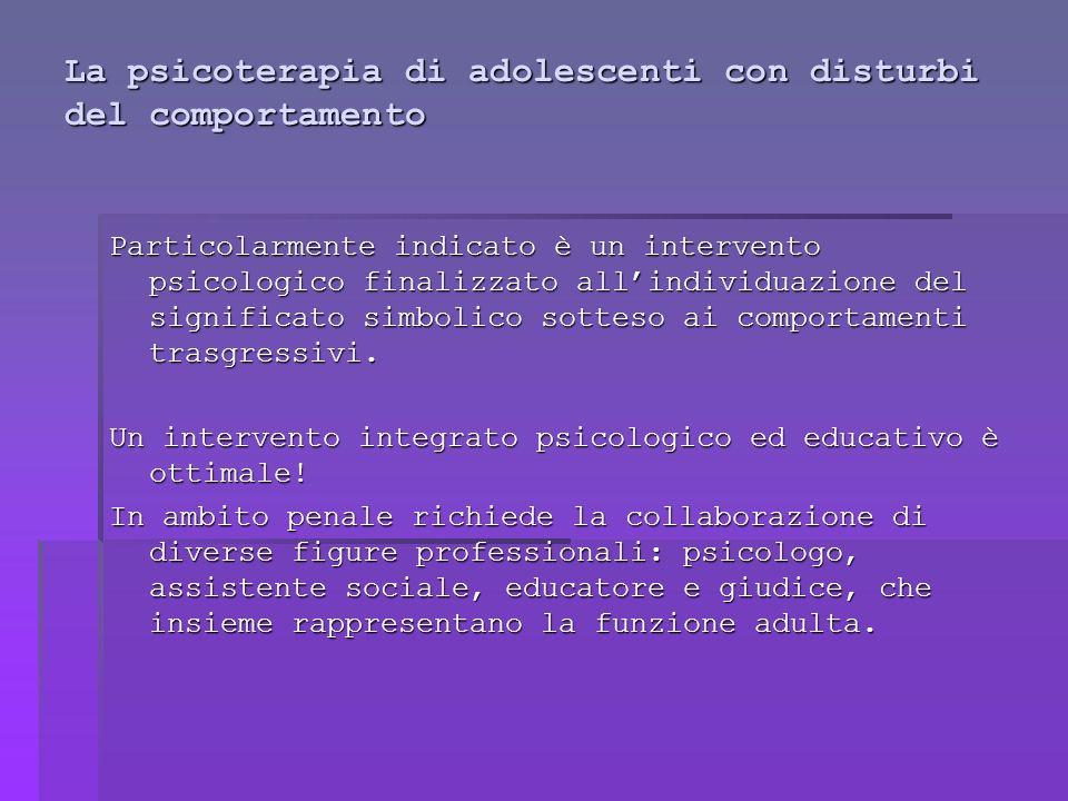 La psicoterapia di adolescenti con disturbi del comportamento