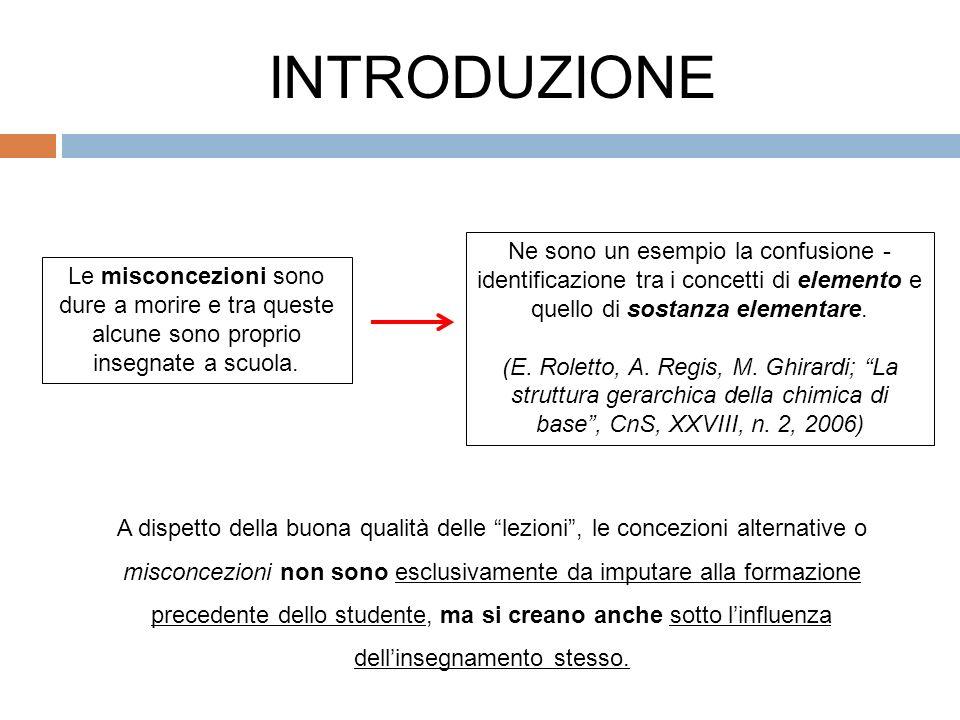 INTRODUZIONE Ne sono un esempio la confusione -identificazione tra i concetti di elemento e quello di sostanza elementare.
