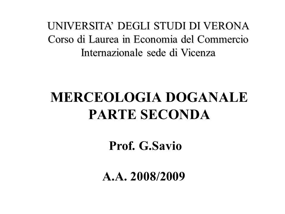 MERCEOLOGIA DOGANALE PARTE SECONDA