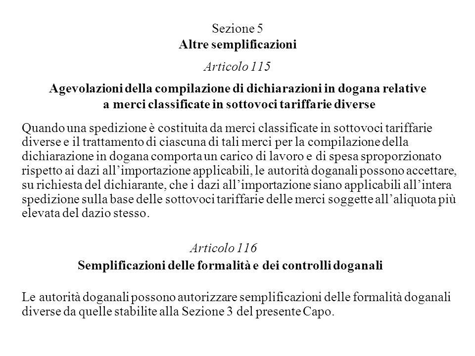 Sezione 5 Altre semplificazioni Articolo 115 Agevolazioni della compilazione di dichiarazioni in dogana relative a merci classificate in sottovoci tariffarie diverse