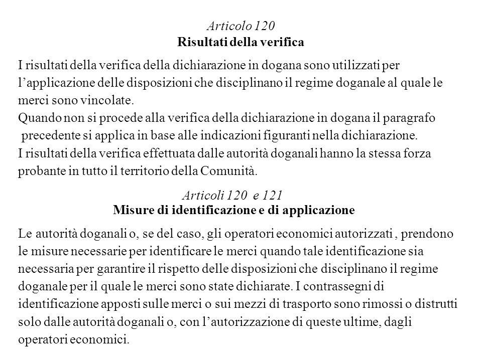 Articolo 120 Risultati della verifica