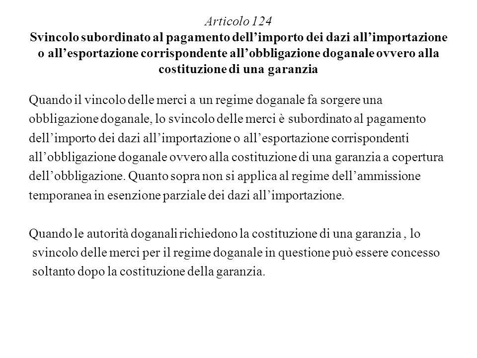 Articolo 124 Svincolo subordinato al pagamento dell'importo dei dazi all'importazione o all'esportazione corrispondente all'obbligazione doganale ovvero alla costituzione di una garanzia