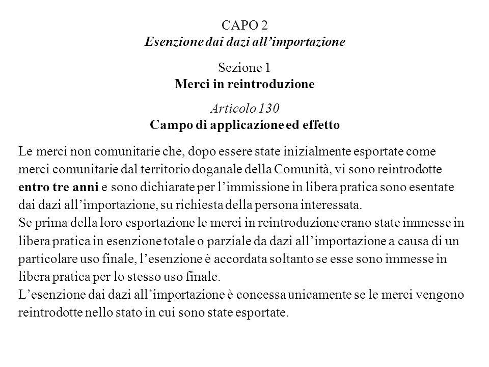 CAPO 2 Esenzione dai dazi all'importazione Sezione 1 Merci in reintroduzione Articolo 130 Campo di applicazione ed effetto