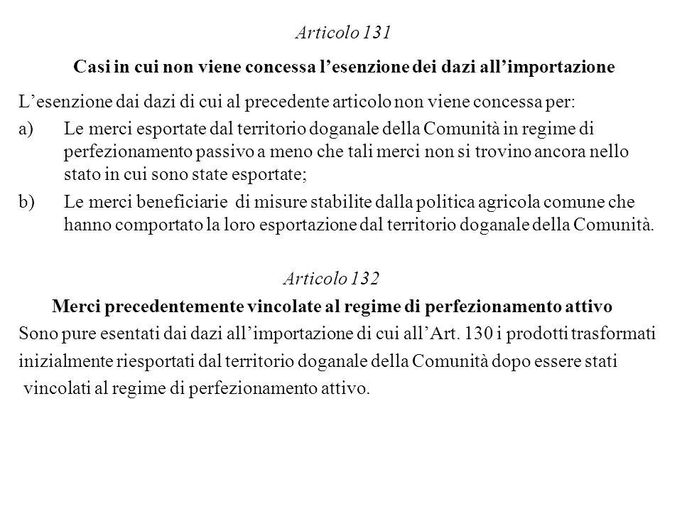 Articolo 131 Casi in cui non viene concessa l'esenzione dei dazi all'importazione