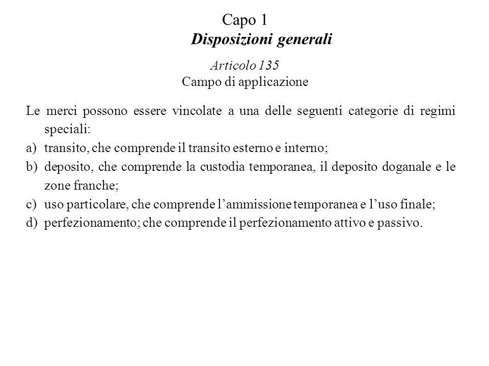 Capo 1 Disposizioni generali Articolo 135 Campo di applicazione