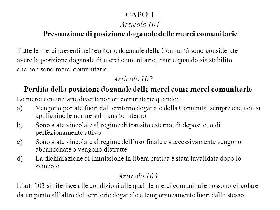 CAPO 1 Articolo 101 Presunzione di posizione doganale delle merci comunitarie