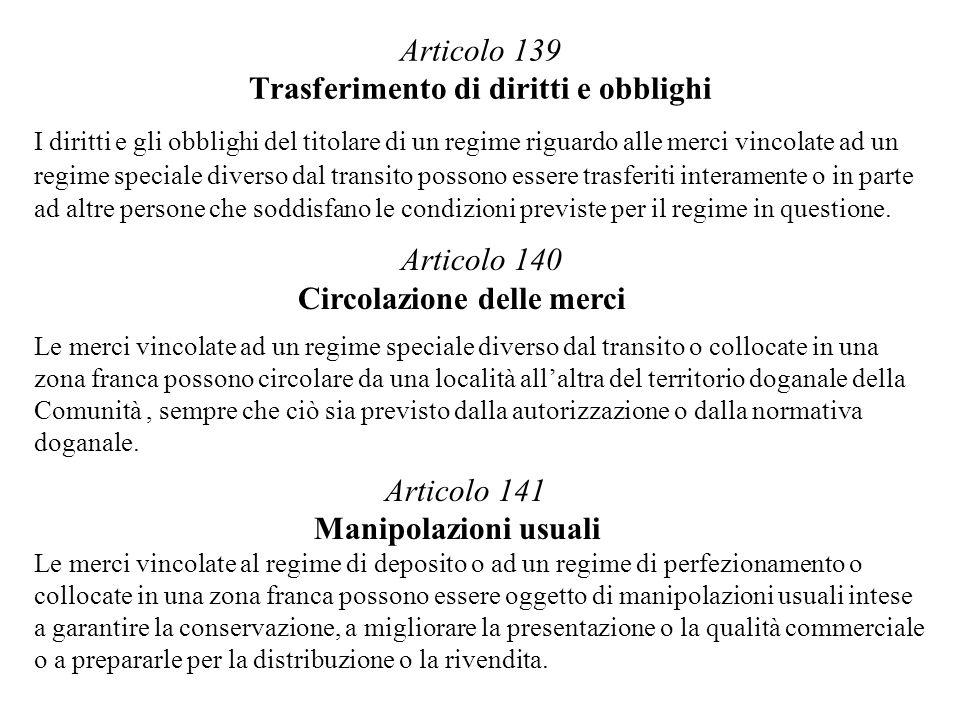 Articolo 139 Trasferimento di diritti e obblighi