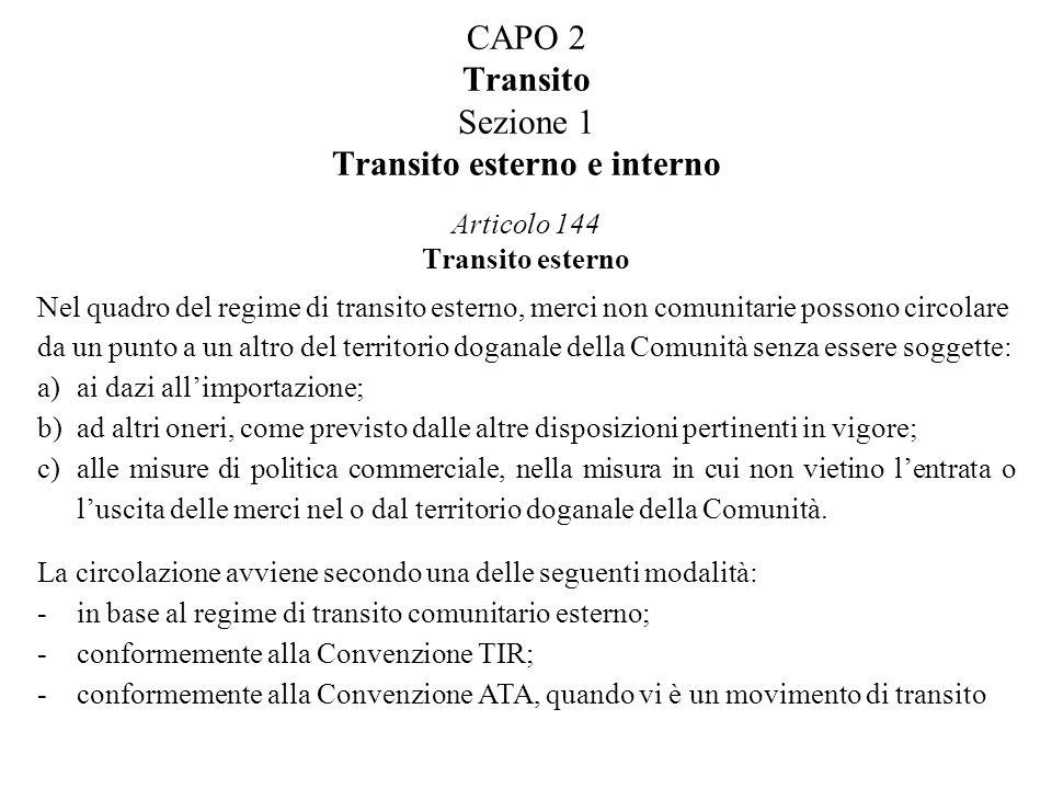 CAPO 2 Transito Sezione 1 Transito esterno e interno Articolo 144 Transito esterno