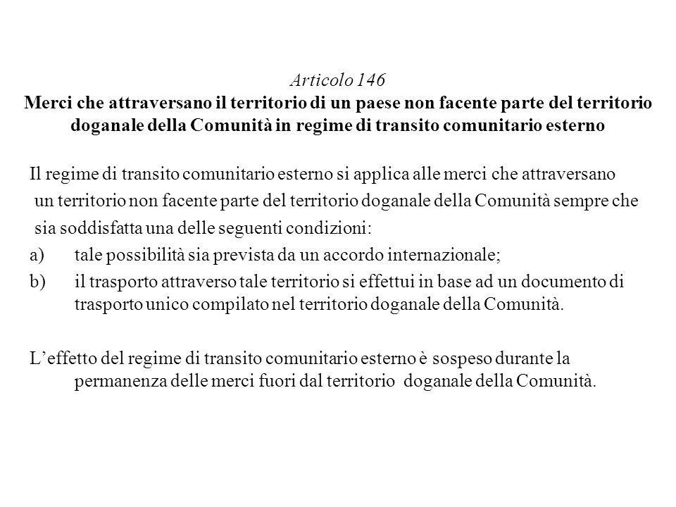 Articolo 146 Merci che attraversano il territorio di un paese non facente parte del territorio doganale della Comunità in regime di transito comunitario esterno