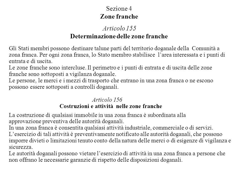 Sezione 4 Zone franche Articolo 155 Determinazione delle zone franche