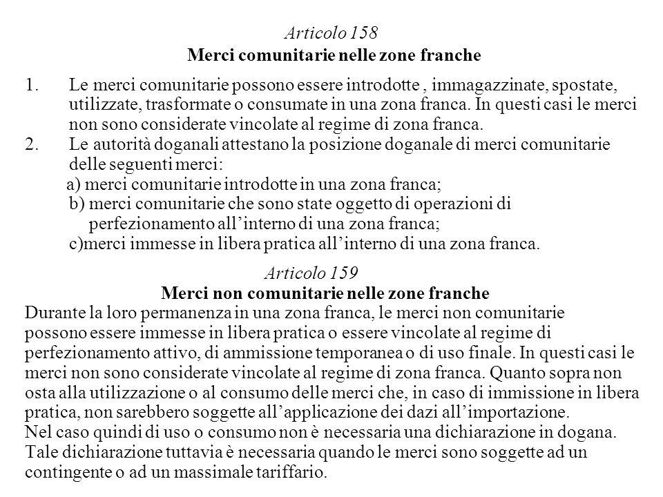 Articolo 158 Merci comunitarie nelle zone franche