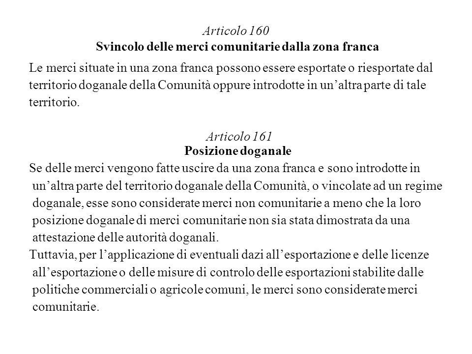 Articolo 160 Svincolo delle merci comunitarie dalla zona franca