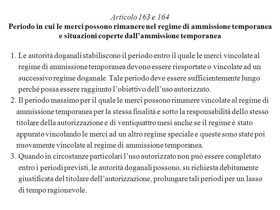 Articolo 163 e 164 Periodo in cui le merci possono rimanere nel regime di ammissione temporanea e situazioni coperte dall'ammissione temporanea
