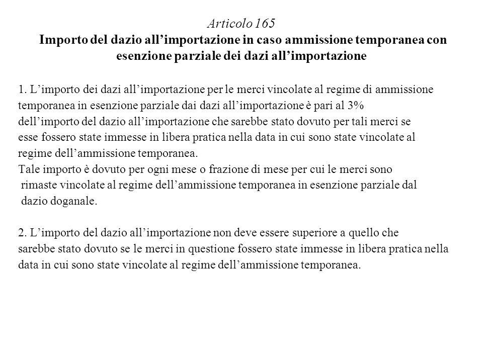 Articolo 165 Importo del dazio all'importazione in caso ammissione temporanea con esenzione parziale dei dazi all'importazione