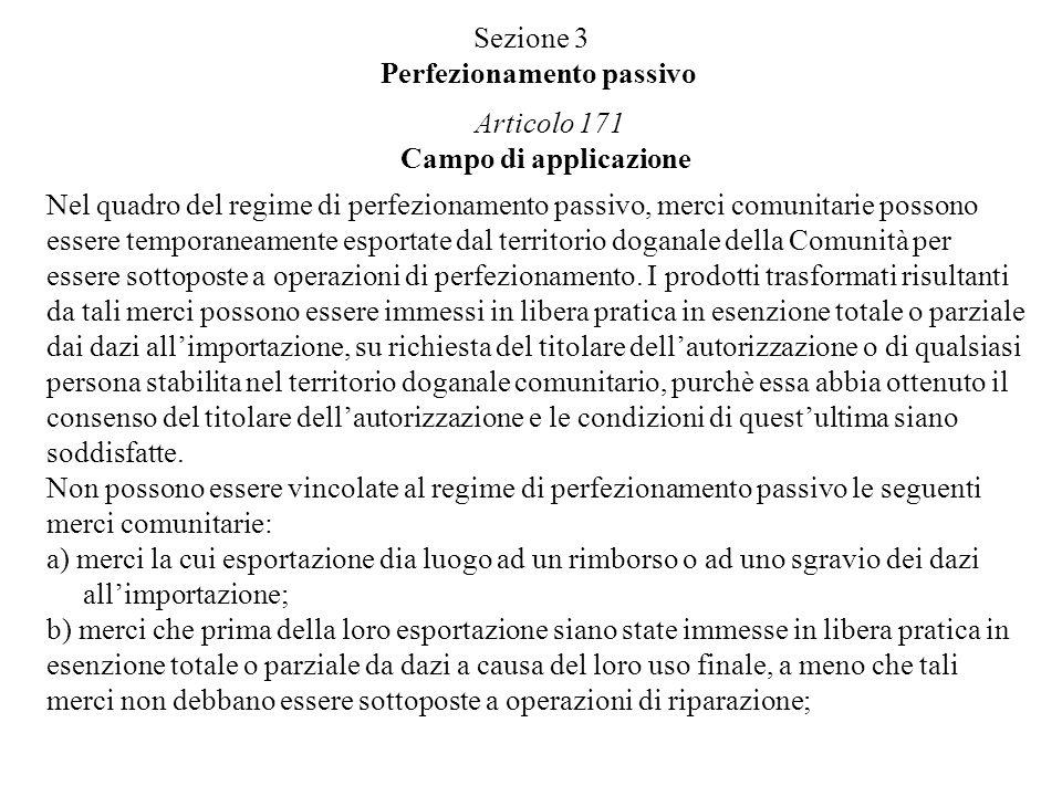 Sezione 3 Perfezionamento passivo Articolo 171 Campo di applicazione