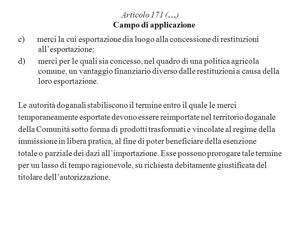 Articolo 171 (…) Campo di applicazione