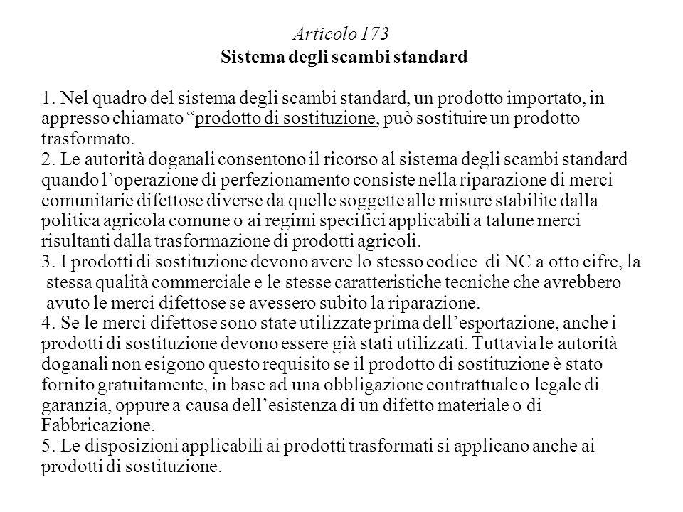 Articolo 173 Sistema degli scambi standard