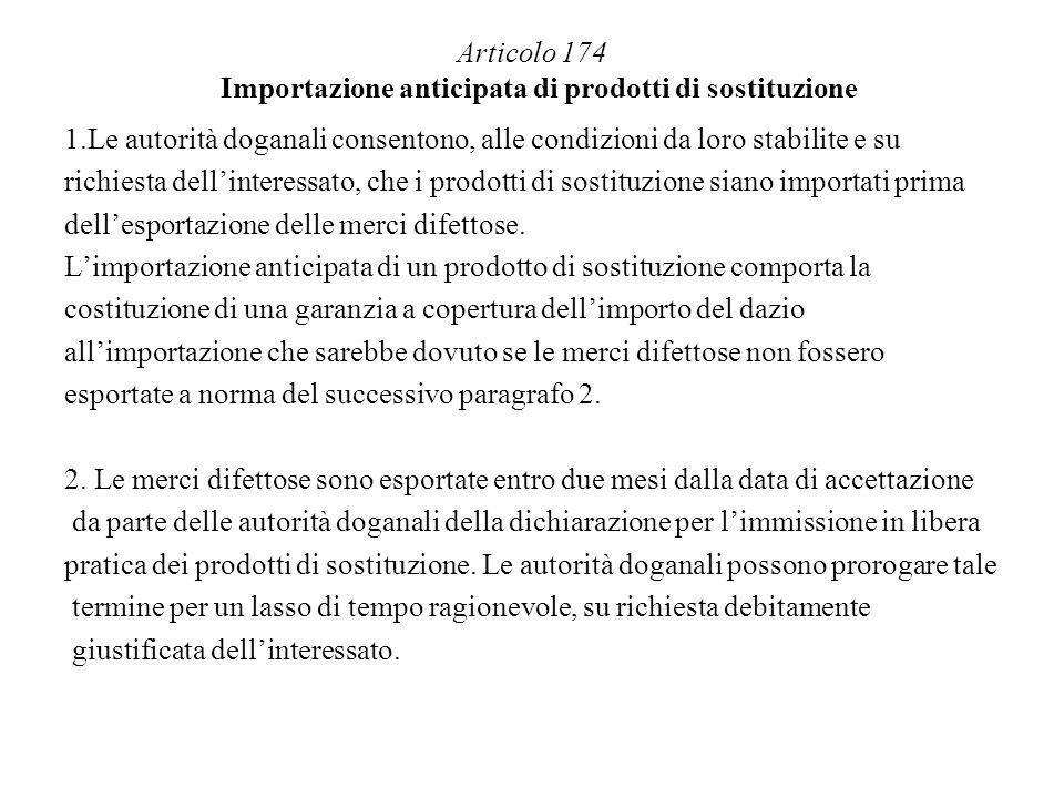 Articolo 174 Importazione anticipata di prodotti di sostituzione
