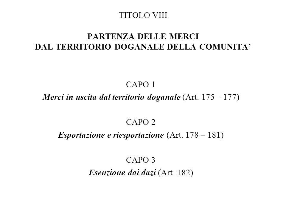 Merci in uscita dal territorio doganale (Art. 175 – 177) CAPO 2