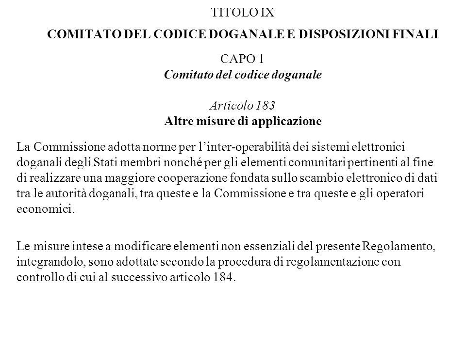 TITOLO IX COMITATO DEL CODICE DOGANALE E DISPOSIZIONI FINALI CAPO 1 Comitato del codice doganale Articolo 183 Altre misure di applicazione