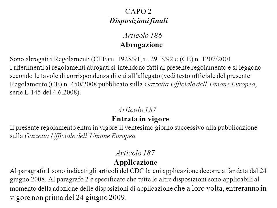 CAPO 2 Disposizioni finali Articolo 186 Abrogazione