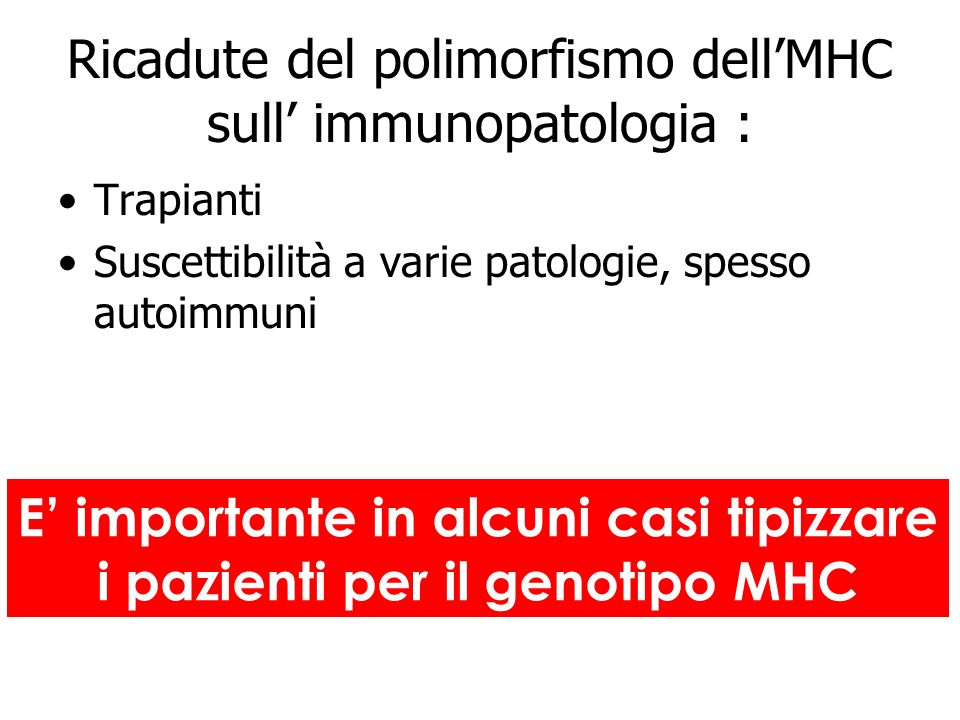 Ricadute del polimorfismo dell'MHC sull' immunopatologia :