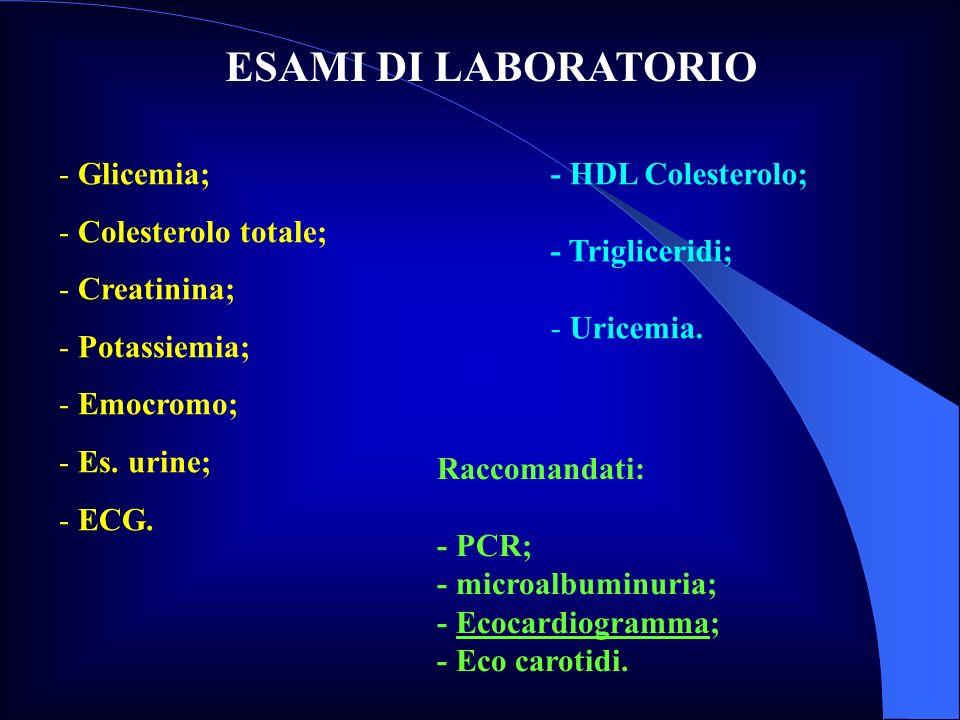 ESAMI DI LABORATORIO Glicemia; Colesterolo totale; Creatinina;