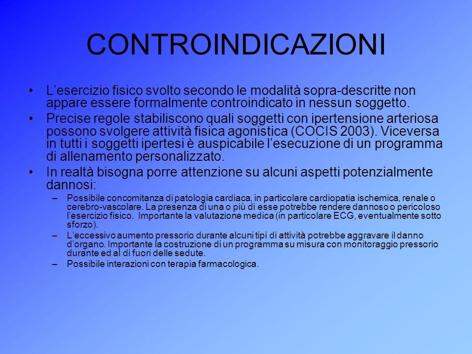 CONTROINDICAZIONI L'esercizio fisico svolto secondo le modalità sopra-descritte non appare essere formalmente controindicato in nessun soggetto.