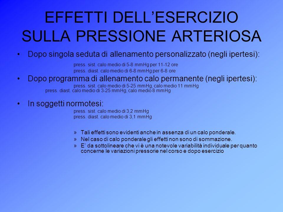 EFFETTI DELL'ESERCIZIO SULLA PRESSIONE ARTERIOSA