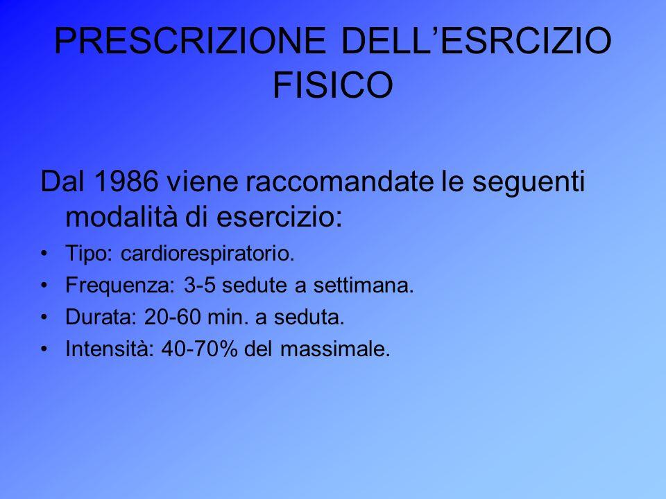 PRESCRIZIONE DELL'ESRCIZIO FISICO