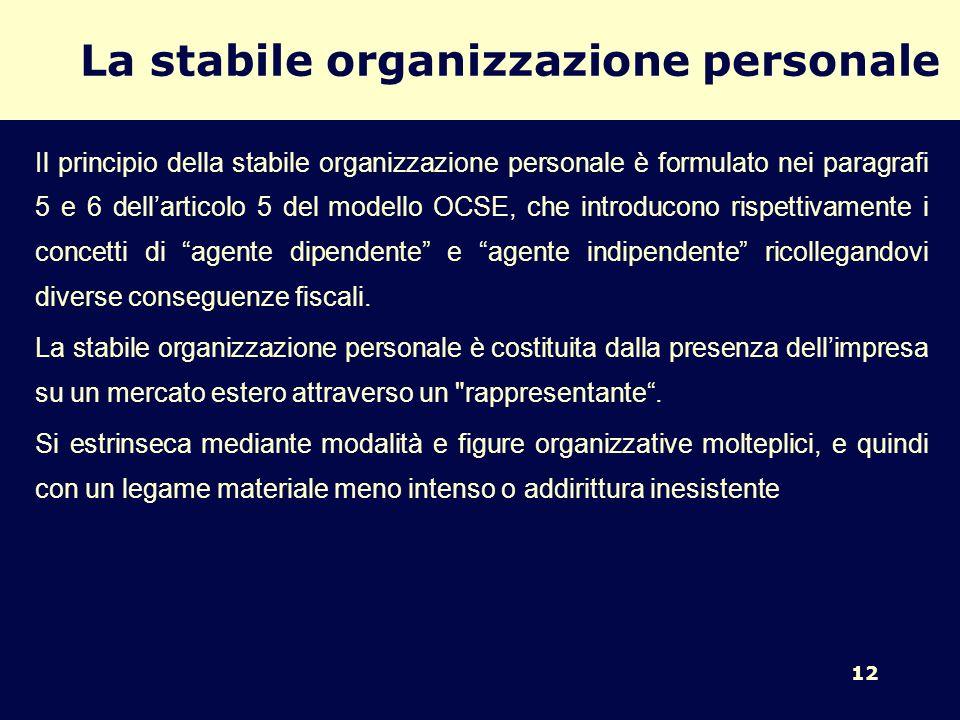 La stabile organizzazione personale