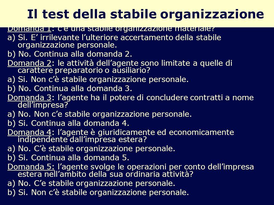 Il test della stabile organizzazione
