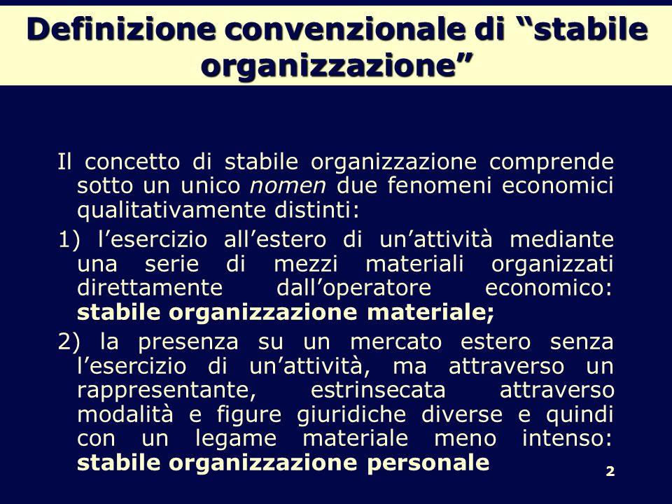 Definizione convenzionale di stabile organizzazione