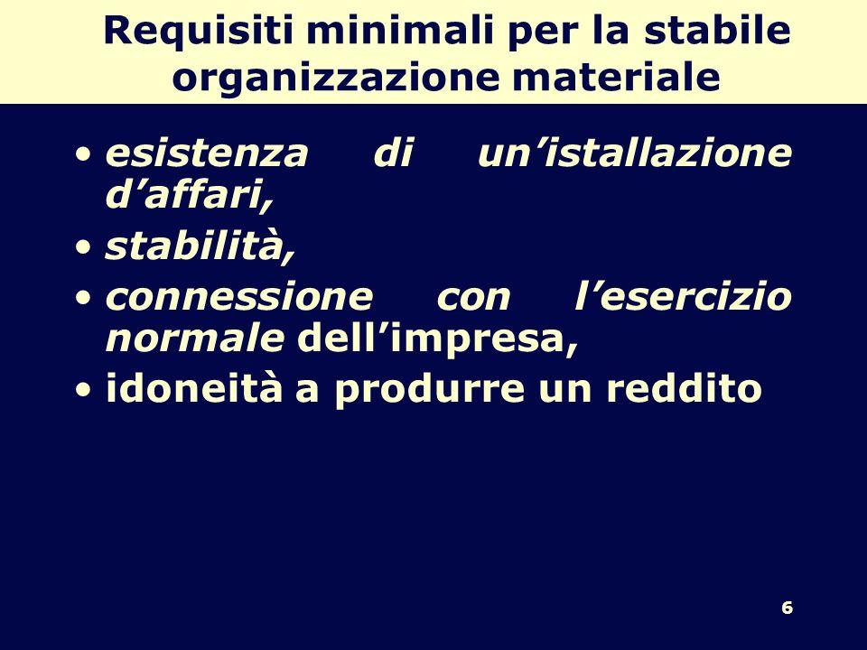 Requisiti minimali per la stabile organizzazione materiale