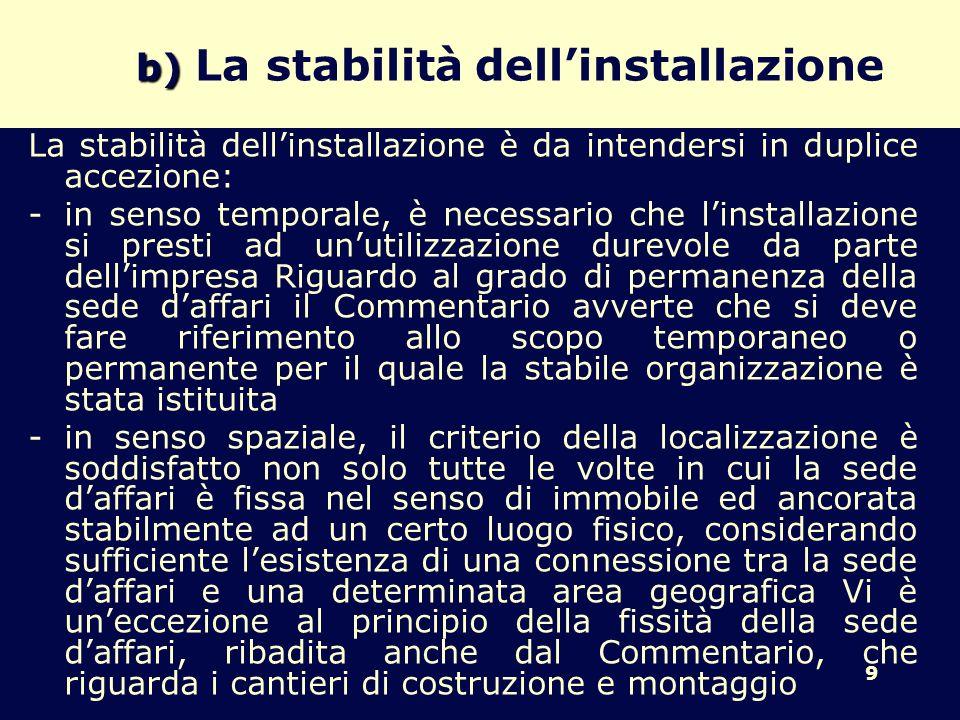 b) La stabilità dell'installazione